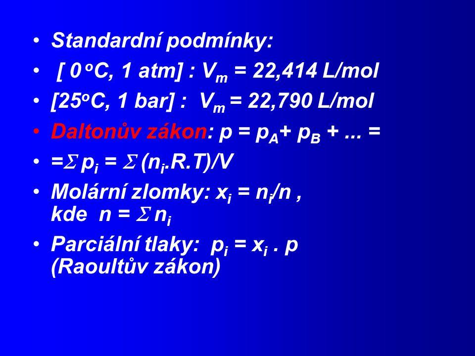 Standardní podmínky: [ 0 oC, 1 atm] : Vm = 22,414 L/mol. [25oC, 1 bar] : Vm = 22,790 L/mol. Daltonův zákon: p = pA+ pB + ... =